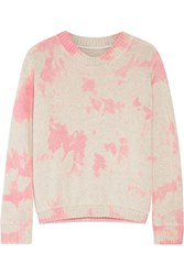 The Elder Statesman Tie Dyed Cashmere Sweater Off White Pink
