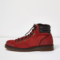 River Island Mens Orange Suede Hiking Boots