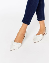 Asos Lady Pointed Ballet Flats Ivory White