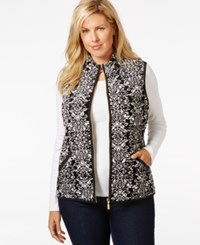 Charter Club Plus Size Printed Velour Vest Only At Macy's Deep Black Combo