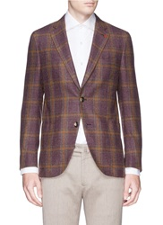 Isaia 'Sailor' Glen Plaid Wool Cashmere Blazer Purple