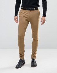 Asos Extreme Super Skinny Smart Trousers In Camel Glazed Ginger Brown