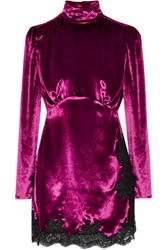 Alessandra Rich Lace Trimmed Velvet Mini Dress Magenta