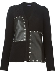 Emanuel Ungaro Sheepskin Panel Cardigan Black