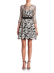 Abs By Allen Schwartz Lace Fit And Flare Dress Silver