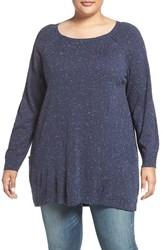 Caslonr Plus Size Women's Caslon Side Pocket Tunic Sweater Navy Black Pattern