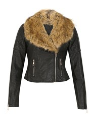 Izabel London Faux Fur Collar Biker Jacket Black
