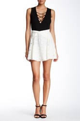 The Kooples Genuine Leather Trim Lace Skater Skirt White