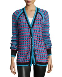 Prabal Gurung Grid Stitch Cardigan Teal