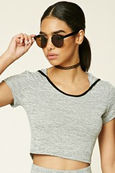 Forever 21 Marled Knit Hooded Crop Top