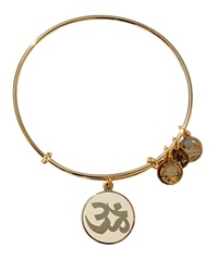 Alex And Ani Om Epoxy Expandable Wire Bangle Ivory Yellow Gold