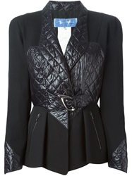 Thierry Mugler Vintage Quilted Panel Jacket Black