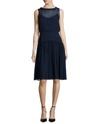 Jenny Packham Degrade Crystal Sleeveless Smock Dress Petrol