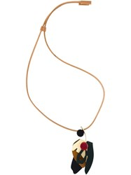 Marni Leaf Pendant Necklace Nude And Neutrals