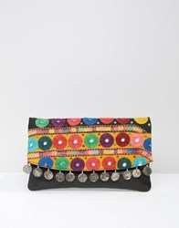 Asos Leather Embroidered Mirror And Coin Clutch Bag Multi