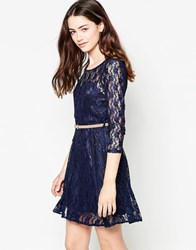 Mela Loves London Belted Long Sleeve Lace Dress Navy