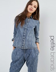 Noisy May Petite Pinstripe Shirt Blue