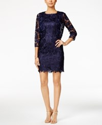 Tahari By Arthur S. Levine Asl Lace Sheath Dress And Bolero Jacket Navy