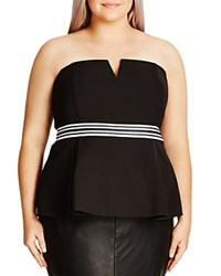 City Chic Peplum Corset Top Black
