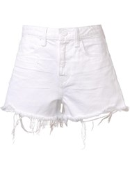 Alexander Wang Distressed Denim Shorts White
