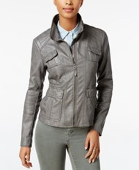 Lucky Brand Faux Leather Bomber Jacket Smoke
