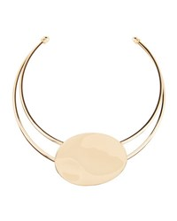 Lydell Nyc Golden Wire Collar Necklace W Oval Station