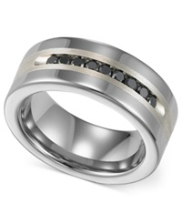 Triton Men's Tungsten And Sterling Silver Ring Channel Set Black Diamond Accent Wedding Band