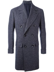 Kiton Notched Lapel Mid Coat Blue