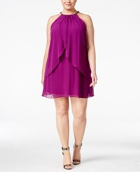 Si Fashions Sl Plus Size Beaded Layered Halter Shift Dress Purple