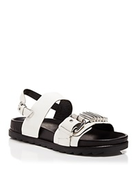 Mcq By Alexander Mcqueen Mcq Open Toe Flat Sandals Rita Metal Bar Flatbed Natural White