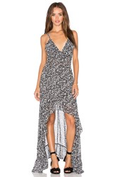 Misa Los Angeles Nova Hi Low Maxi Dress Black And White