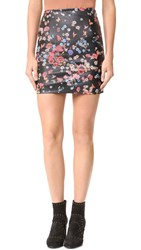 The Kooples Flower Print Leather Miniskirt Black