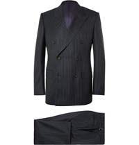 Kingsman Navy Harry Slim Fit Pinstriped Super 120S Wool And Cashmere Blend Suit Blue