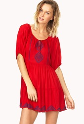 Forever 21 Embroidered Peasant Dress Red Blue