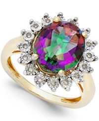 Macy's Mystic Topaz 4 Ct. T.W. And Diamond Accent Ring In 14K Gold Yellow Gold