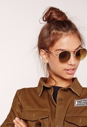 Missguided Rounded Edge Sunglasses Gold Brown