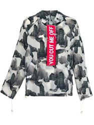 Off White Abstract Print Jacket Black