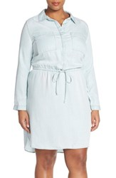 Plus Size Women's Caslon Drawstring Waist Shirtdress Super Bleach