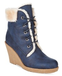 Mojo Moxy Dolce By Fresco Lace Up Wedge Booties Women's Shoes Navy