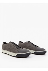 Lanvin Grey Suede Textured Baseball Sneakers