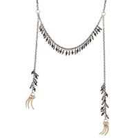 Kria Snake Fang Tassel Necklace Silver