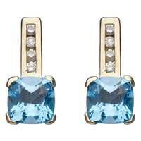 A B Davis 9Ct Gold Cushion Cut Diamond Drop Earrings Blue Topaz