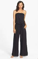 Women's Hard Tail Strapless Shelf Bra Jumpsuit Black