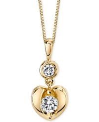 Sirena Diamond Heart Pendant Necklace In 14K White Or Yellow Gold 1 4 Ct. T.W.