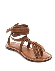 Free People Mosie Fringed Leather Thong Sandals Luggage