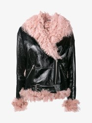 Sandy Liang Bowery Patent Leather And Shearling Jacket Black Pink