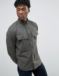 Asos Military Shirt In Khaki With Pockets And Raw Hem In Long Sleeve Khaki Green