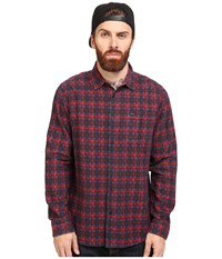 Rvca Soon As Long Sleeve Woven Pompei Red Men's Clothing