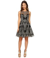 Marchesa Sleeveless Embroidered High Low Cocktail Black