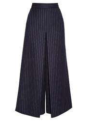 Saint Laurent High Waisted Pinstriped Culottes Black